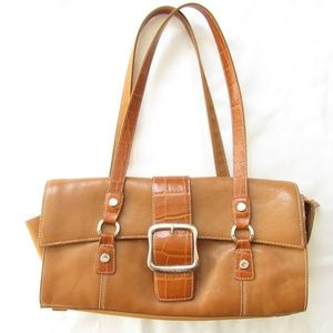 Franco Sarto Brown Leather Purse with Large Buckle